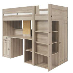 alin a zanzibar lit mezzanine 1 place avec bureau et rangements 90x200cm pas cher achat. Black Bedroom Furniture Sets. Home Design Ideas