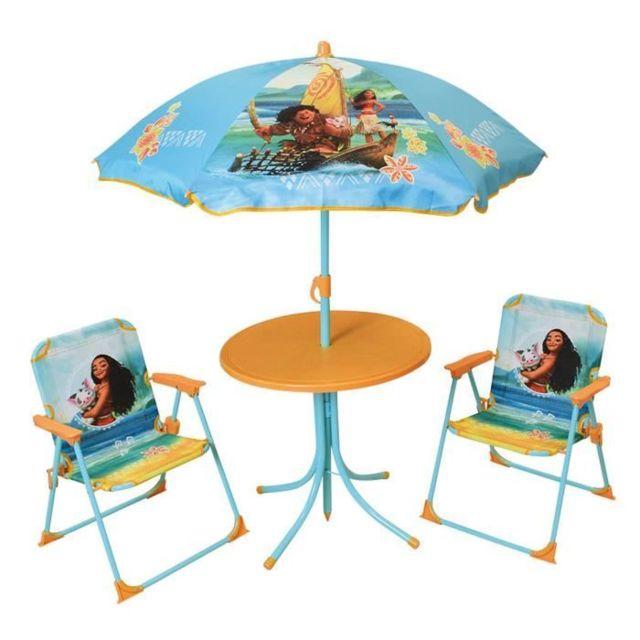 Fauteuil Chaise Longue Matelas Gonflable Piscine Vaiana Salon De Jardin Compose D Une Table De 2 Chaises Pliables Et Un Parasol Pour Enfant
