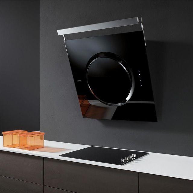 Elica Hotte cuisine murale noire Om Touch Screen 80 cm