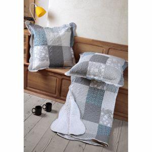 lovely casa couvre lit double face boutis mistra 220 x 240 cm et 2 taies gris blanc pas. Black Bedroom Furniture Sets. Home Design Ideas