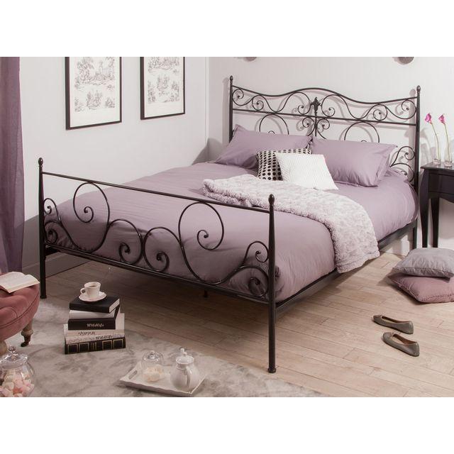 lit deux personnes en m tal margaux pas cher achat vente structures de lit rueducommerce. Black Bedroom Furniture Sets. Home Design Ideas