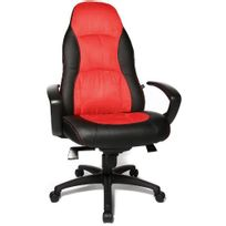 Topstar - Siège de bureau / Fauteuil de direction Speed Chair Al.F2, simili cuir noir / rouge