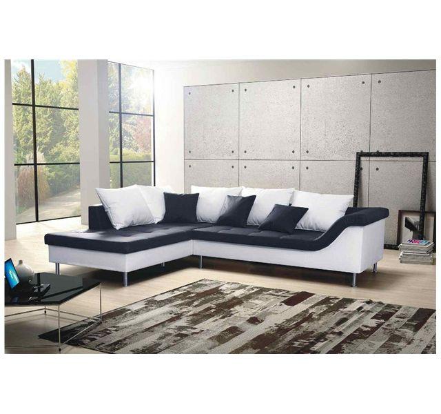 CHLOE DESIGN Canapé d'angle design Elvis - noir et blanc - Angle gauche