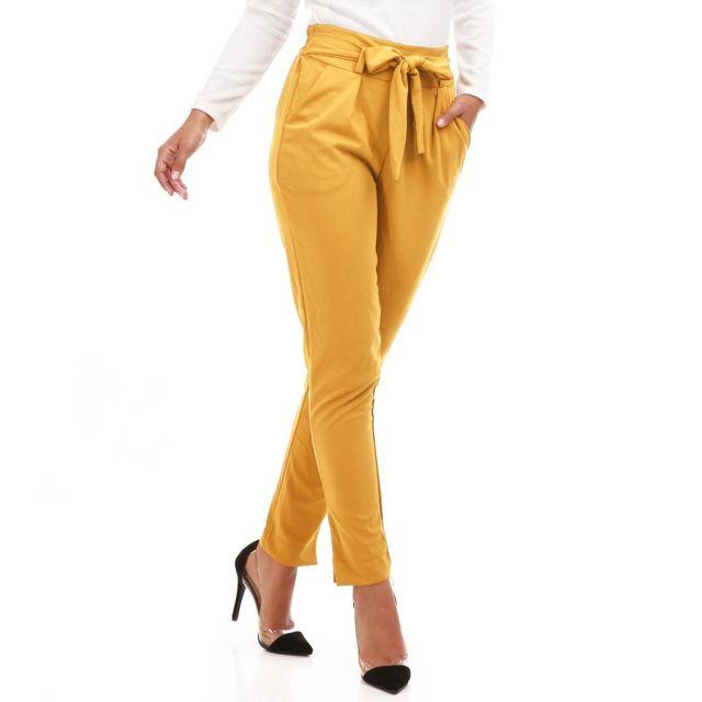 b23e07ba6e244 Lamodeuse - Pantalon chino jaune moutarde avec ceinture - pas cher ...