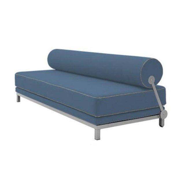 Inside 75 Canapé lit convertible design Sleep en tissu bleu structure aluminium Softline