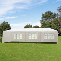 OUTSUNNY - Tonnelle barnum tente de réception grande taille imperméable 9 x 3 x 2,55 m avec fenêtres acier polyéthylène blanc neuf 63WT