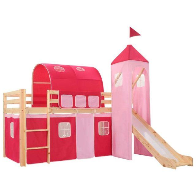 Inedit Mobilier pour bébés & tout-petits categorie Mexico Lit mezzanine d'enfants avec toboggan et échelle Pin 97x208 cm