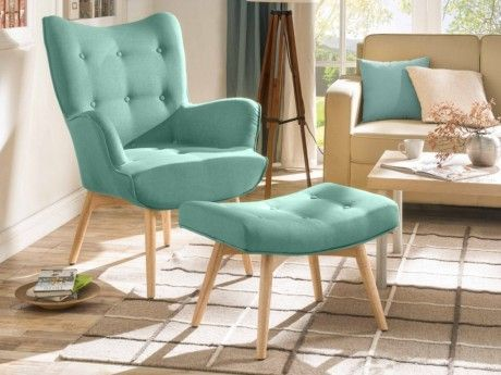 marque generique fauteuil avec repose pieds esben en tissu vert deau - Fauteuil Scandinave Avec Repose Pied