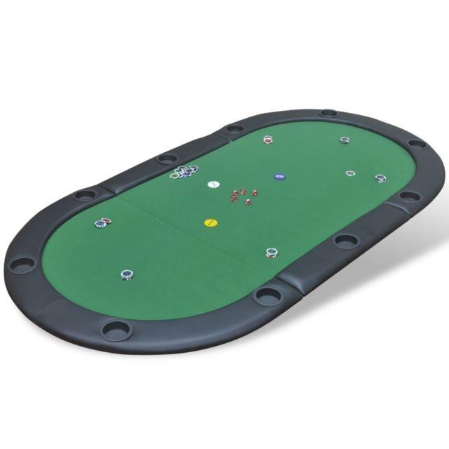 Vidaxl Dessus de table de poker pliable pour 10 joueurs Vert Vert