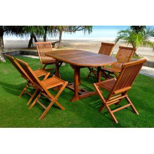 soldes concept usine salon de jardin teck massif 6 8 pers 6 chaises table ovale huilee bois. Black Bedroom Furniture Sets. Home Design Ideas