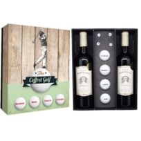 Class Wine - Coffret Golf 4 balles + tee + 2 btles de Bordeaux