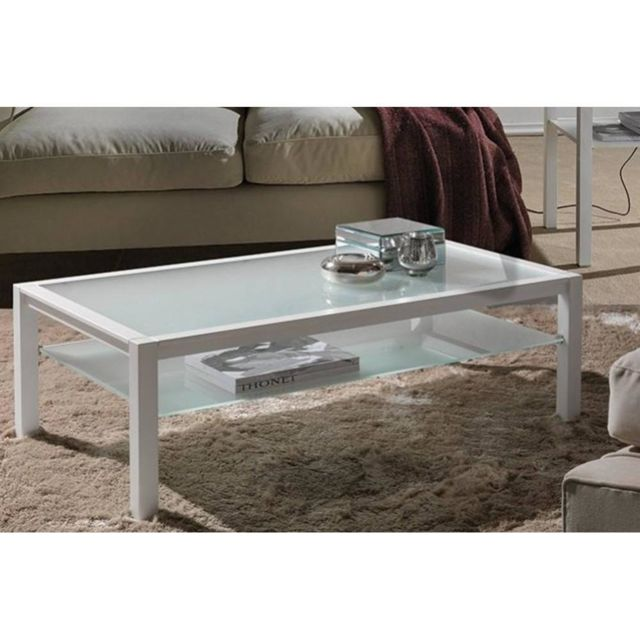 Inside 75 Table basse Domus blanc design en verre blanc