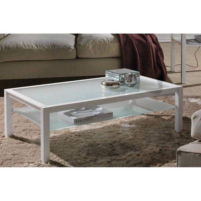 Inside 75 Table basse Domus blanc design en verre blanc
