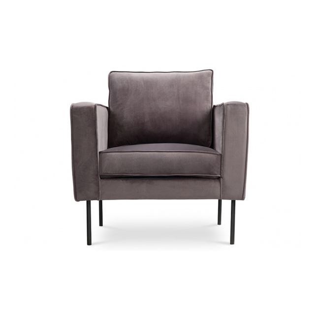 House And Garden Fauteuil velours gris brillant