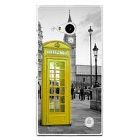 Kabiloo - Coque rigide transparente pour Nokia Lumia 735 avec impression Motifs cabine téléphonique Uk jaune