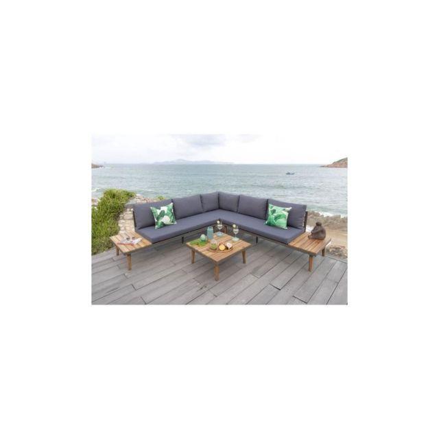 Canas Salon de jardin 6 places en bois dacacia - canape dangle modulable  avec une table basse
