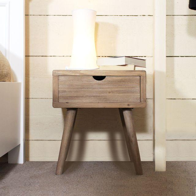made in meubles table de chevet mdf style scandinave dn26 bois clair pas cher achat. Black Bedroom Furniture Sets. Home Design Ideas