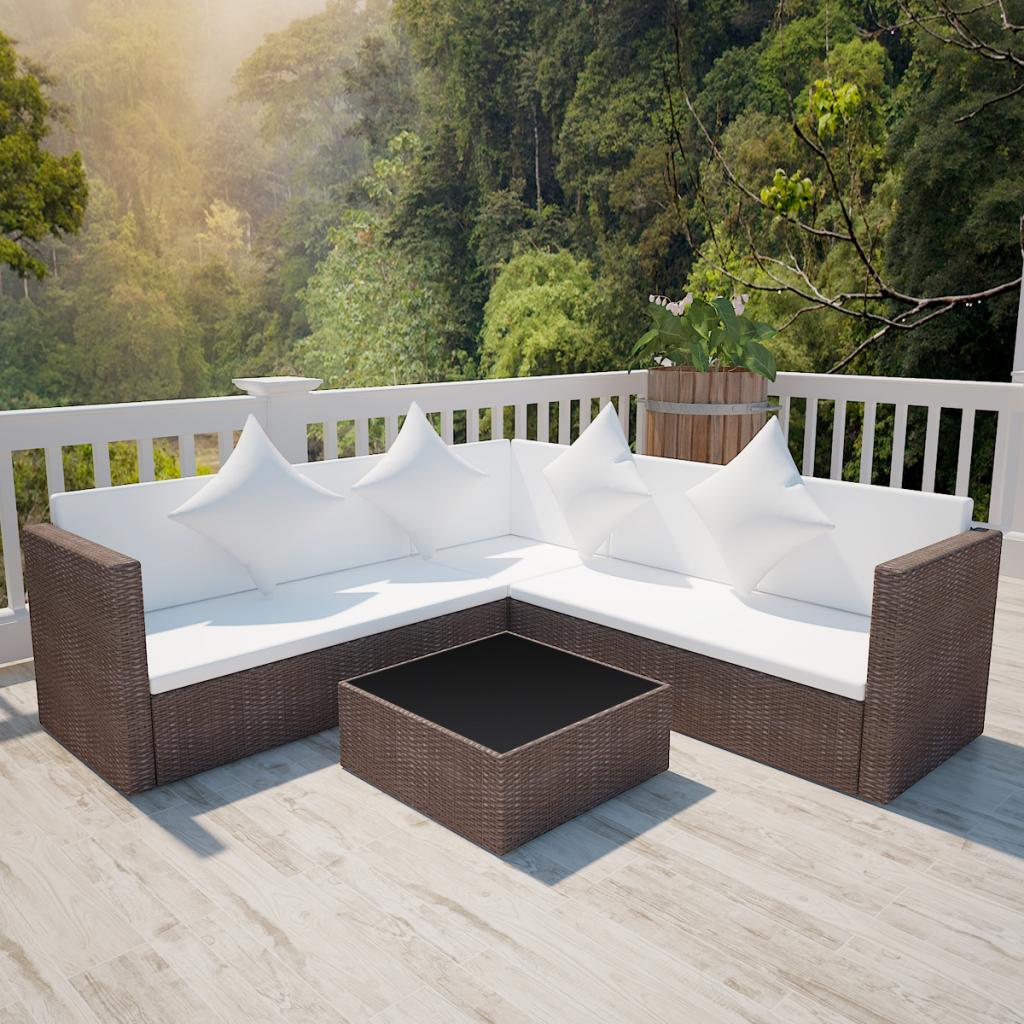 Salon de jardin avec canapé 2 places en polyrotin marron