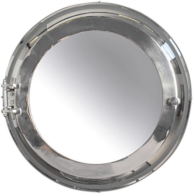 COMFORIUM Miroir mural design 55 cm en aluminium et verre coloris argenté