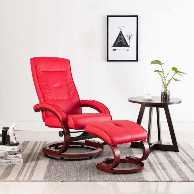 Esthetique Fauteuils et chaises reference Tokyo Fauteuil inclinable avec repose-pied Rouge Similicuir