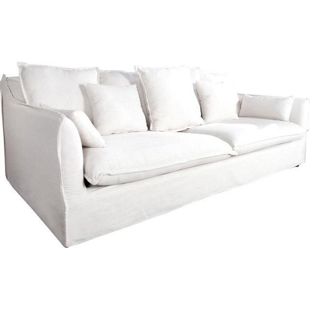 Comforium Canapé 3 places moderne en tissu déhoussable coloris blanc