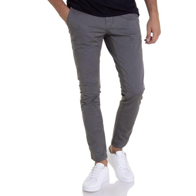 Petrol Industries - Pantalon toile gris Tro583 avec ceinture pour homme 4f3992ca78e