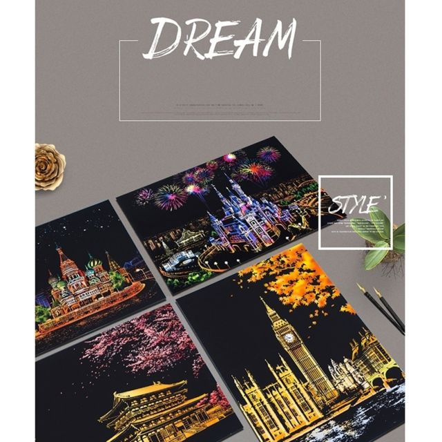 Sticker Or Diy Dessin Photo Peinture Murale Scratch Carte Vue De Nuit Arts Papier Peint à La Main Décoration De La Maison Créative Cadeaux à La Main