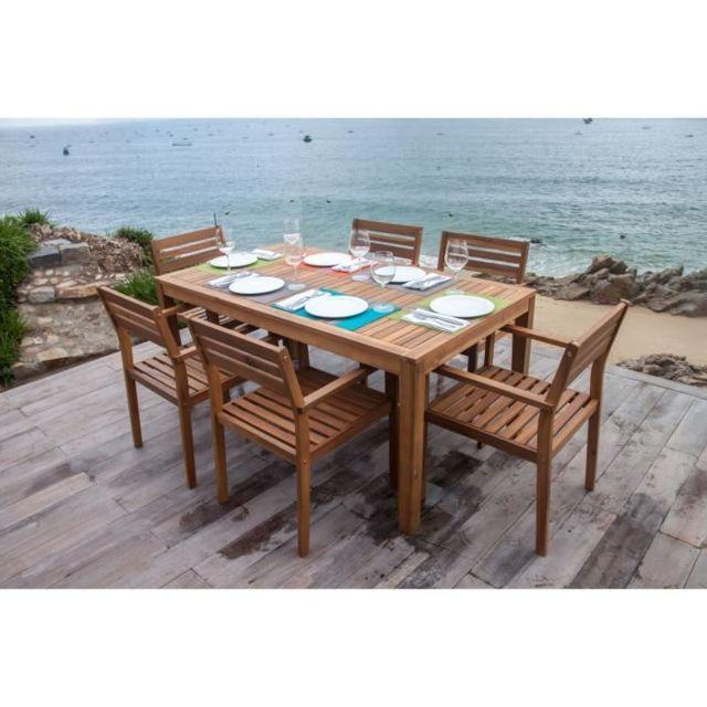 SALON DE JARDIN - ENSEMBLE TABLE CHAISE FAUTEUIL DE JARDIN Ensemble de mobilier de jardin 6 places - 1 table et 6 chaise