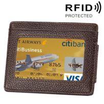 Wewoo - Porte Carte Protection sans contact Anti Rfid café pour cartes et cadre photo, taille: 110 77 4 mm Portefeuille en cuir de vachette solide couleur porte-cartes Rfid Blocking Card Protect Case avec 3 emplacements