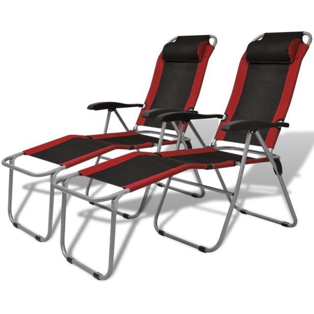 Vidaxl Chaise Inclinable De Camping 2 Pcs Rouge Et Noir Pas Cher