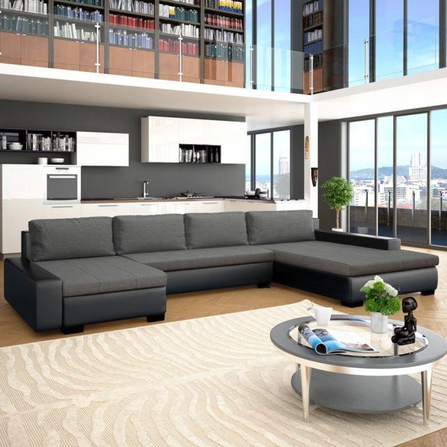 Chic Meubles famille Bissau Canapé-lit modulaire Similicuir Noir et gris foncé