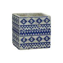 Declikdeco - Cache Pot Pomax En Céramique Motifs Bleus Aztèques Tripoli