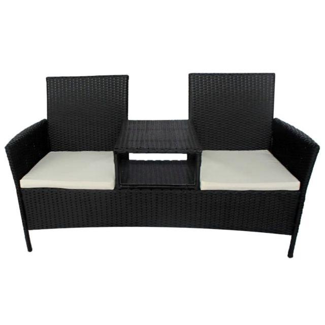 Icaverne - Ensembles de meubles d'extérieur selection Banc à deux places avec table basse Rotin synthétique Noir