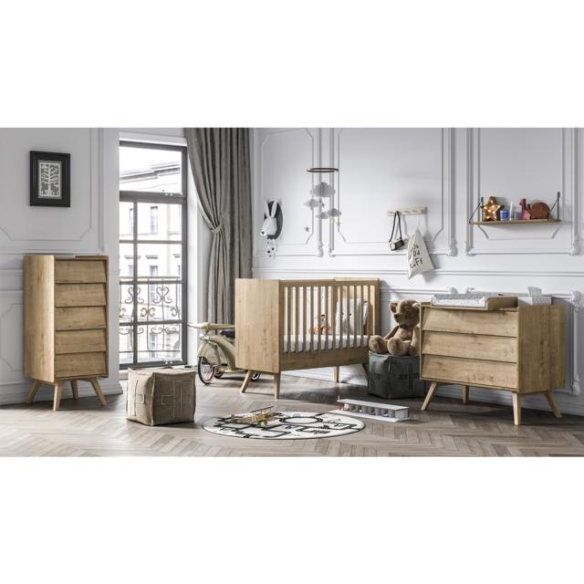 Chambre complète lit bébé 60x120 - commode à langer - chiffonnier Vintage -  Bois
