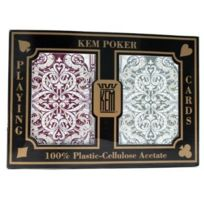 Kem - Jaquard Burgandy Green Poker Playing Cards Regular Index bordeaux cartes vertes en jouant au poker index régulier