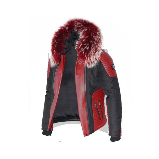 VENTIUNO - Ventiuno MASERATI Veste Doudoune Bi-matière rouge fourrure  véritable rouge mèches blances taille 1e4d34d2825