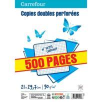 CARREFOUR - Lot de 500 copies doubles perforées A4 - Petits carreaux
