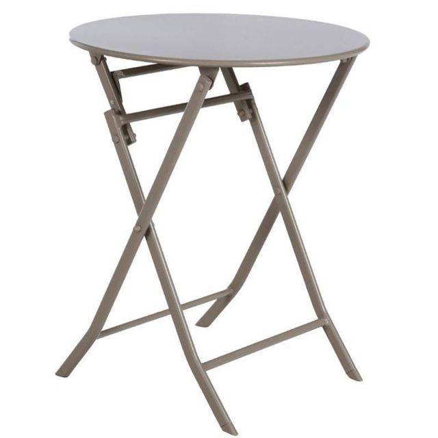 Pegane - Table de jardin ronde en acier coloris taupe clair - Dim ...