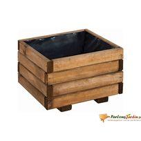 Jardipolys - Bac à fleurs en bois carré marron Choko 40