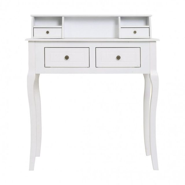 Mobili Rebecca Coiffeuse Bureau 4 Tiroirs Bois Blanc Design Francais Provencal Chambre Salon