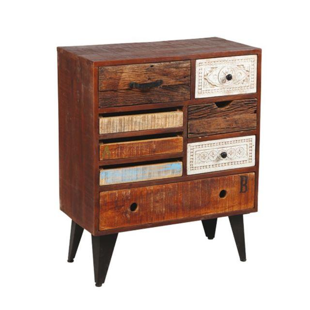 tousmesmeubles commode 8 tiroirs en bois de palissandre denver multicolore pas cher achat. Black Bedroom Furniture Sets. Home Design Ideas