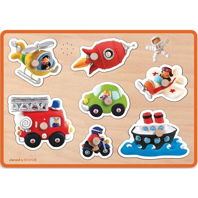JANOD J07052 - Puzzle musical Bois Avec Bouton Les Transports 7 pieces