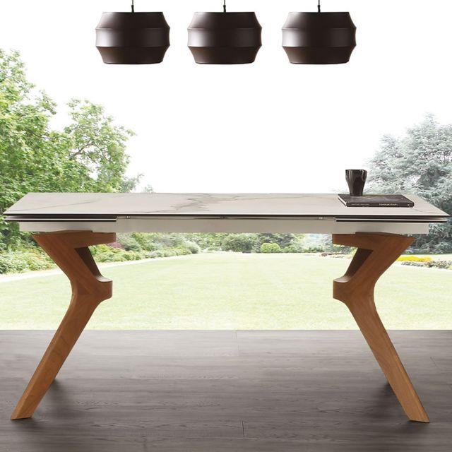 Nouvomeuble Table avec rallonge en céramique et en bois Logan