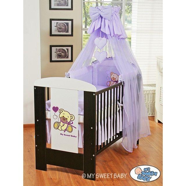 Lit et Parure de lit bébé teddy bear violet ciel de lit coton 120 60