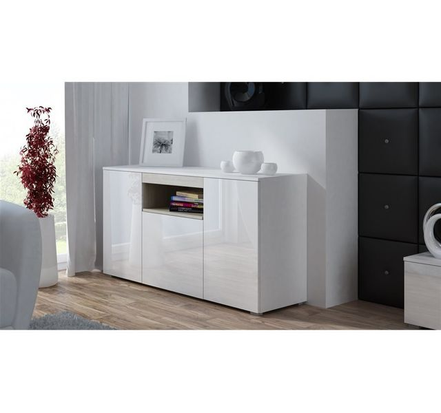CHLOE DESIGN Commode de salon design ELVA - Blanc/Bois