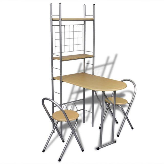 Sans Marque Jeu de bar petit-déjeuner pliable avec 2 chaises