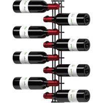 Visiorack - Support mural de 8 bouteilles de 75cl en position horizontale - Noir Mat Aci-vis602