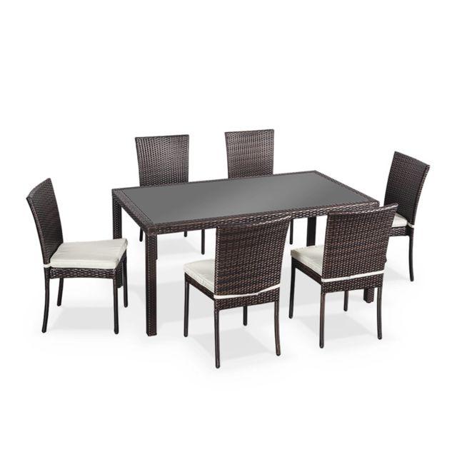 Salon de jardin 6 places - Bergamo - Coloris Chocolat, coussins écrus,  Table extérieure avec 6 chaises