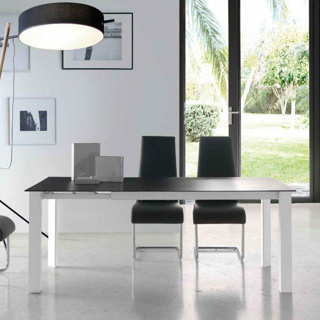 Nouvomeuble Table extensible en verre noir et métal blanc Emera 2