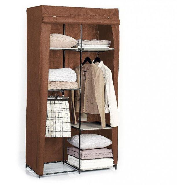 jja armoire penderie 3 tag res marron pas cher achat. Black Bedroom Furniture Sets. Home Design Ideas
